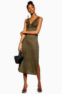 Topshop Khaki Keyhole Stripe Midi Dress | green sleeveless spring dresses