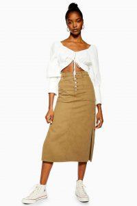 Topshop Khaki Midi Denim Skirt | casual side slit skirts