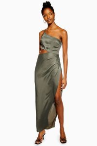 We Own The Night Khaki Satin Super Split Dress | asymmetric cut-out gown | evening glamour