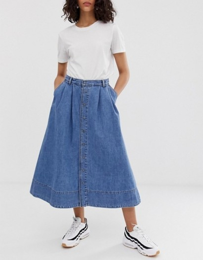 Kings Of Indigo button through denim skirt in marble | blue flared skirts