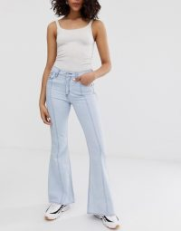 Kings Of Indigo high rise flare in 70s bright | light blue denim | retro jeans