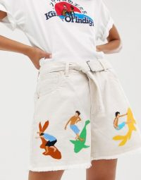 Kings Of Indigo organic cotton surf embroidered belted short | frayed hem shorts