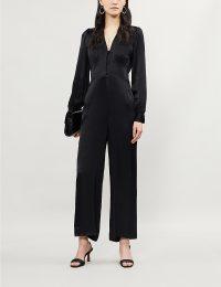 KITRI Martina wide-leg satin jumpsuit in black ~ vintage look evening clothing