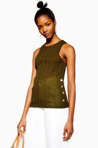 Topshop Knitted Side Button Vest in Khaki | green tank top