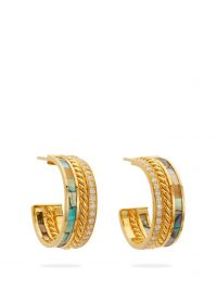 PATCHARAVIPA 18kt gold, mother-of-pearl & diamond-pavé hoop earrings
