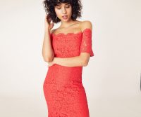 OASIS LACE BARDOT PENCIL DRESS Coral / flared hem midi