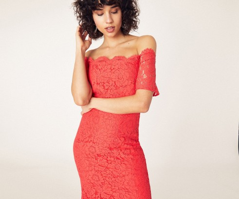 OASIS LACE BARDOT PENCIL DRESS Coral / flared hem midi