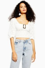 TOPSHOP Lace Buckle Puff Sleeve Top in cream – vintage style
