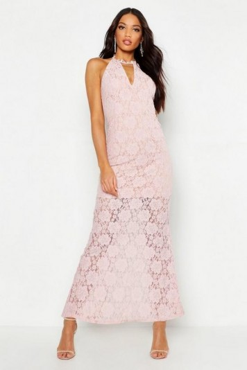 boohoo Lace Choker Plunge Maxi Dress in Pink
