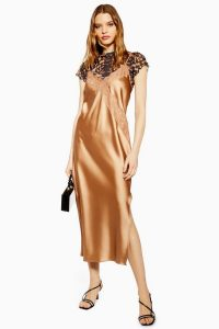 Topshop Lace Satin Slip Dress in Bronze | luxe cami dresses