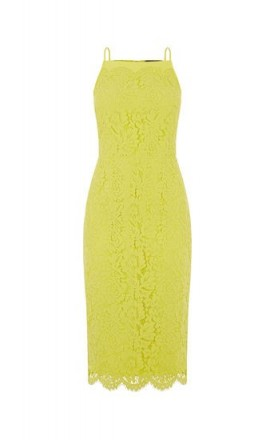OASIS LACE SQUARE NECK MIDI DRESS Mid Yellow / thin strap pencil dresses