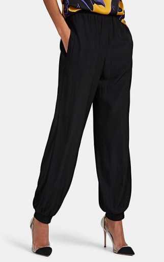 LANVIN Matte Satin Jogger Pants in Black ~ chic cuffed trousers ~ luxe joggers