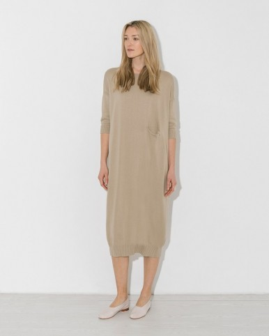 LAUREN MANOOGIAN antique big crewneck dress in beige | neutral sweater dresses