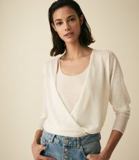REISS LAUREN TWO PIECE LAYERING TOP WHITE ~ wrap front tops