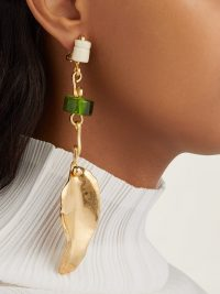 MARNI Leaf and bead-embellished drop clip earrings ~ green and gold statement drops