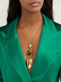 MARNI Leaf and bead-embellished necklace ~ gold tone pendant necklaces