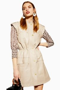 Topshop Leather Cap Sleeve Dress in Stone | luxe retro look