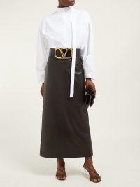 Matches Fashion VALENTINO Leather pencil skirt