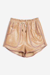 Topshop Leather Runner Shorts in Nude