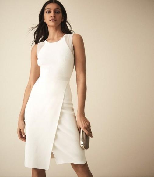 REISS LEILA KNITTED BODYCON DRESS WHITE ~ asymmetric wrap front