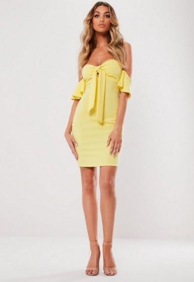 MISSGUIDED lemon bardot knot front bodycon mini dress ~ yellow strapless dresses