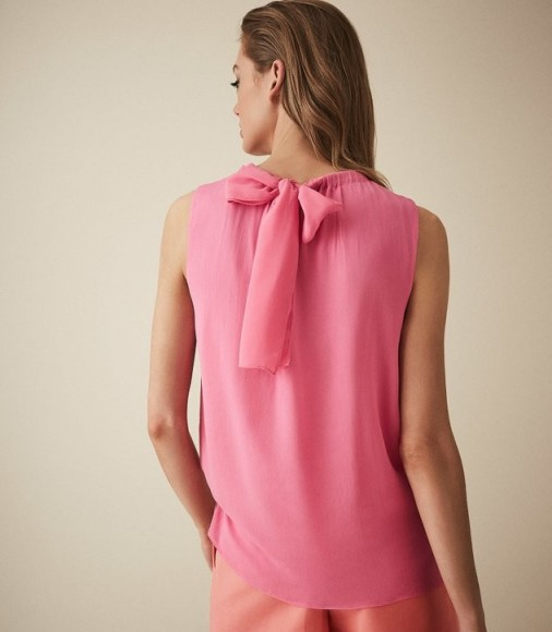 REISS LENA BOW DETAIL TOP PINK
