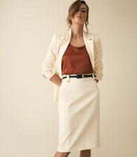 Reiss LENNOX SKIRT HIGH WAISTED SKIRT OFF WHITE | smart pencil skirts