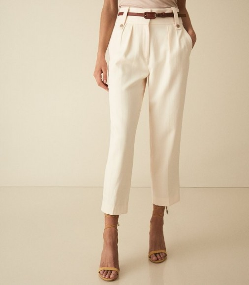 REISS LENNOX TROUSER HIGH WAISTED CROPPED TROUSERS OFF WHITE ~ chic crop hem pants