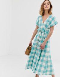 Leon & Harper prairie maxi dress in blue check | modern prairie