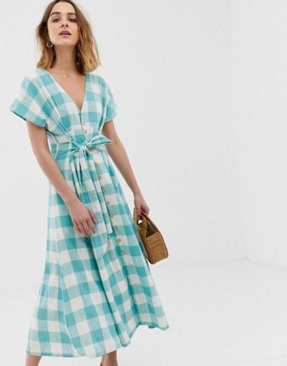 Leon & Harper prairie maxi dress in blue check | modern prairie - flipped