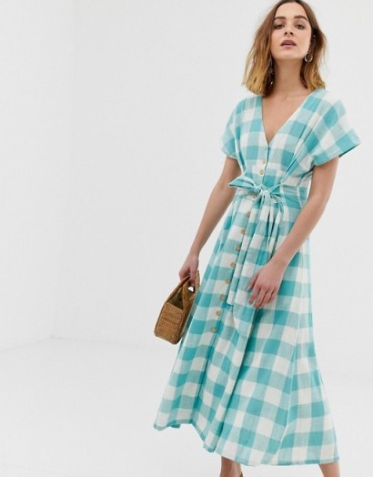 Leon & Harper prairie maxi dress in blue check | modern prairie