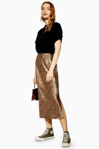 Topshop Leopard Print Satin Bias Skirt in Tan | brown animal prints