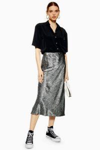 Topshop Leopard Print Satin Bias Skirt in Blue | slinky fabric