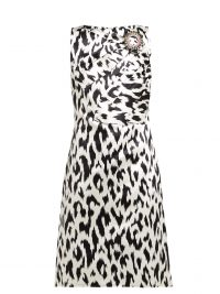 CALVIN KLEIN 205W39NYC Leopard-print crystal brooch silk dress in black and white ~ vintage style glamour