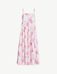 LES REVERIES Floral-pattern tiered cotton midi dress in garden bouquet / tiered thin-strap sundress
