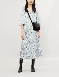 LES REVERIES Floral-print silk-satin midi wrap dress in Victoria rose | blue floral spring dresses