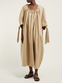 THE ROW Libby gathered-neck cotton dress in beige ~ oversized design