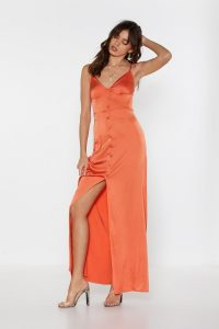 Nasty Gal Like Button Wouldn't Melt Satin Maxi Dress in Coral – long slinky skinny-strap dresses