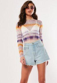 MISSGUIDED lilac tie dye print mesh bodysuit
