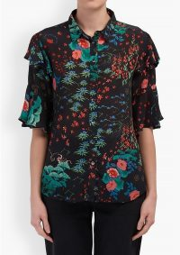 The Dressing Room LILY AND LIONEL FRANKIE SHIRT – WONDERLAND BLACK – floaty ruffle detail sleeves