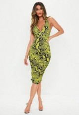 MISSGUIDED lime snake plunge slinky cross back midi dress ~ bright animal prints