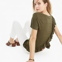 J.Crew Linen ruffle-back T-shirt in Frosty Olive | green ruffled tee