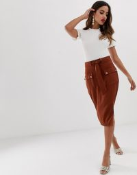 Lipsy utility midi skirt in chocolate brown ~ modern utilitarian fashion