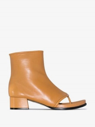 Loewe Camel Brown 60 Thong Leather Boots / open-toe ankle boot