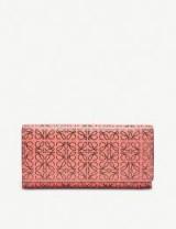 Women's designer wallets ~ LOEWE Continental logo-embossed leather wallet in pink tulip / black