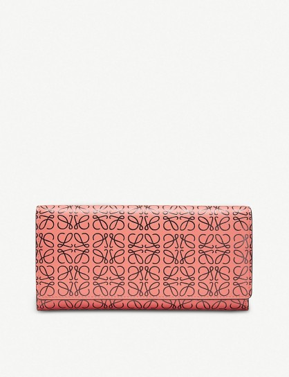 Women's designer wallets ~ LOEWE Continental logo-embossed leather wallet in pink tulip / black