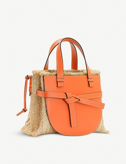 LOEWE Gate top-handle small leather and woven raffia tote bag in orange / natural / textured luxury handbag