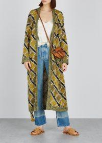 LOEWE Instarsia knitted cardigan in mustard | longline geo patterned cardigans
