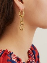 VALENTINO Logo and chainlink earrings ~ gold-tone V-charm drops