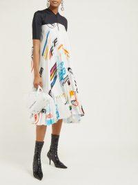 MARINE SERRE Logo-print contrast-panel satin dress / Formula 1 sport printed fashion